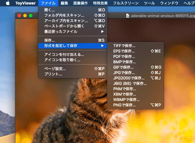 ファイル形式を選ぶ