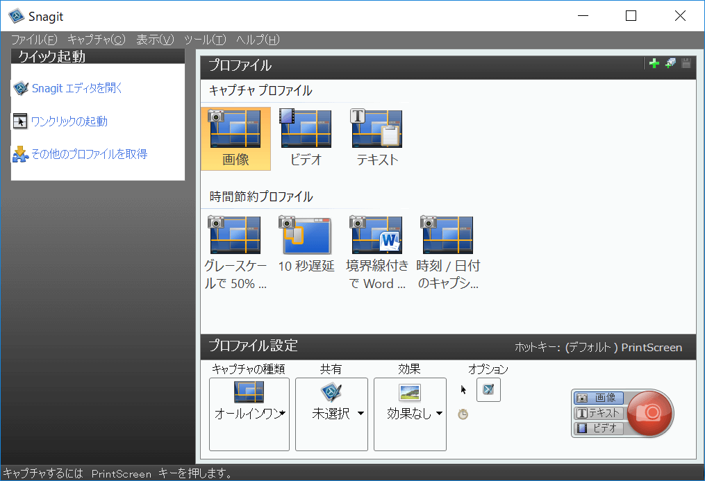 Snagit,動画 キャプチャー,プロファイル